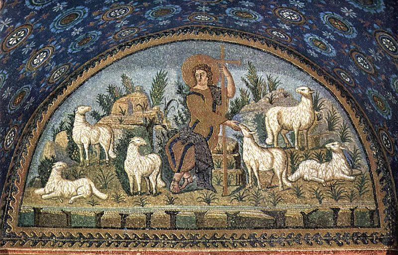 Dobry Pasterz, Rawenna, fragment mozaiki wmauzoleum Galli Placydii, 1. poł. V w.